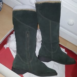 Style & Co Green Suede Winter Boots Soft Lined 8